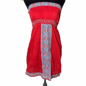 Flying Tomato Red Embroidered Strapless Mine Dress